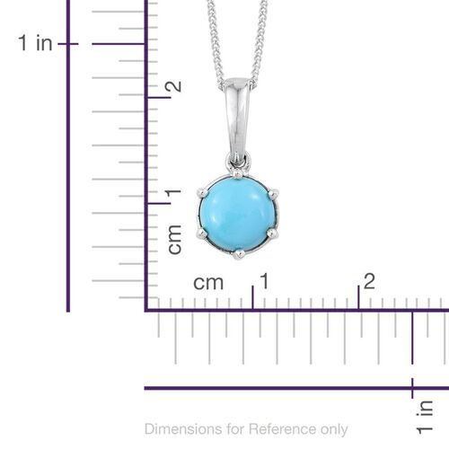 Arizona Sleeping Beauty Turquoise (Rnd) Solitaire Pendant with Chain in Platinum Overlay Sterling Silver 1.000 Ct.