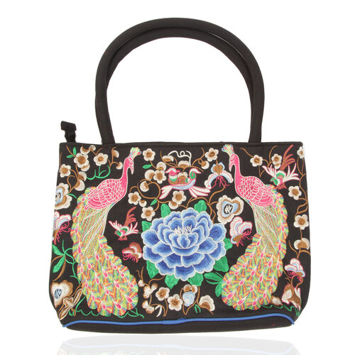 Blue, Pink and Multi Colour Peacock Feather Pattern Black Colour Tote Bag (Size 33.5x28x13 Cm)