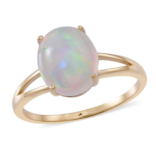 9K Y Gold AAA Ethiopian Welo Opal (Ovl) Solitaire Ring 3.500 Ct.