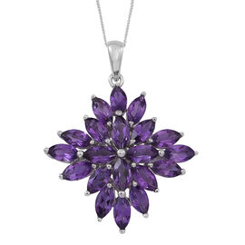Uruguay Amethyst (Mrq) Cluster Pendant With Chain in Rhodium Plated Sterling Silver 10.000 Ct.
