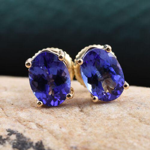 ILIANA 18K Y Gold AAA Tanzanite (Ovl) Stud Earrings (with Screw Back) 2.000 Ct.