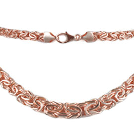 JCK Vegas Collection 9K Rose Gold Graduated Byzantine Necklace (Size 20), Gold Wt. 15.36 Gms.