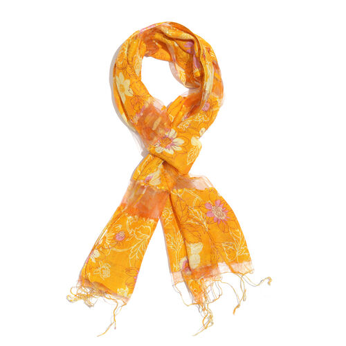 Super Auction- 65% Silk Yellow, Light Purple and Multi Colour Artistic Floral Pattern Scarf with Fringes (Size 180x50 Cm)