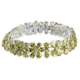 Hebei Peridot (Pear), White Topaz Floral Bracelet (Size 7) in Platinum Overlay Sterling Silver 40.400 Ct.