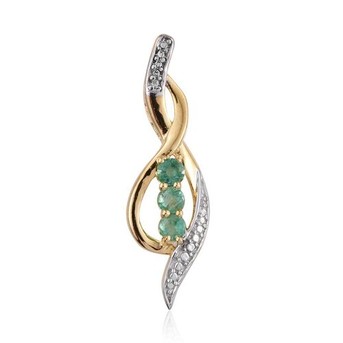 Kagem Zambian Emerald (Rnd) Trilogy Pendant in 14K Gold Overlay Sterling Silver 0.500 Ct.