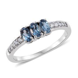 ILIANA 18K W Gold AAA Santa Maria Aquamarine (Ovl), Diamond Ring 0.750 Ct.