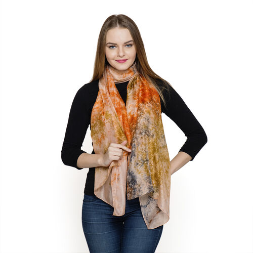 100% Mulberry Silk Orange, Peach and Multi Colour Colour Abstract Pattern Scarf (Size 180x50 Cm)