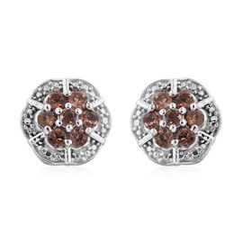 Brazilian Andalusite (Rnd) Stud Earrings (with Push Back) in Platinum Overlay Sterling Silver 1.000 Ct.