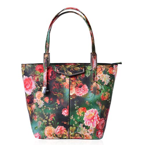 Chelsea Green with Multi Colour Floral Pattern Tote Bag With Adjustable Shoulder Strap (Size 39x29x32x15 Cm)