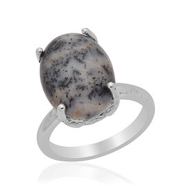 Dendritic Opal (Ovl) Solitaire Ring in Platinum Overlay Sterling Silver 6.000 Ct.
