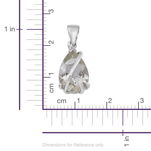 Green Amethyst (Pear) Solitaire Pendant in Rhodium Plated Sterling Silver 3.500 Ct.