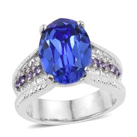 J Francis Crystal from Swarovski - Tanzanite Colour Crystal (Ovl), Simulated Amethyst Ring in ION Plated Platinum Bond