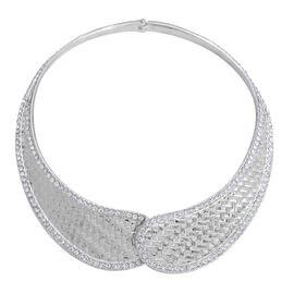 White Austrian Crystal Necklace (Size 16) in Silver Tone
