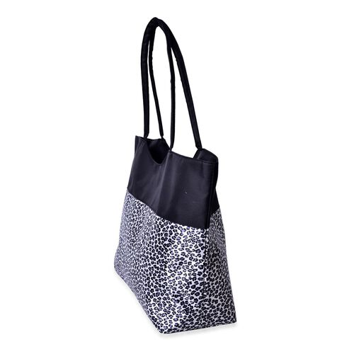Leopard Pattern Black and White Colour Tote Bag (Size 52X38X32X15.5 Cm)