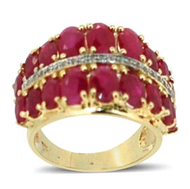 9K Y Gold Burmese Ruby (Ovl), White Sapphire Ring 7.760 Ct.
