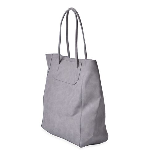 Sky Grey Colour Classic City Shopper Bag (Size 34x31x10.5 Cm)