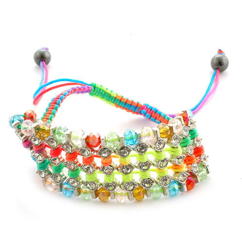 Rainbow Glass Bead, Austrian Crystal and Hematite Friendship Bracelet (Adjustable)