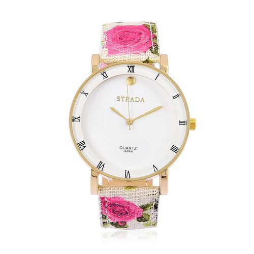 STRADA Japanese Movement Roman Numerals Watch in Gold Tone with Pink Colour Floral Band and Stainless Steel Back