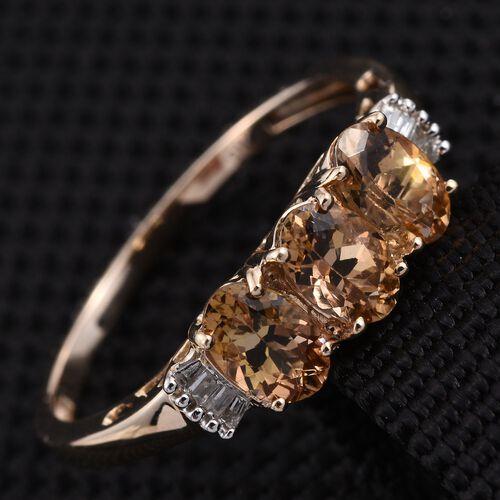 9K Y Gold Natural Yellow Tanzanite (Ovl), Diamond Ring 1.500 Ct.