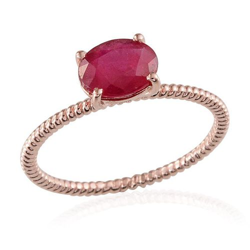 African Ruby (Ovl) Solitaire Ring in Rose Gold Overlay Sterling Silver 2.000 Ct.