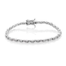 Diamond XO Bracelet in Platinum Overlay Sterling Silver Size 7.5