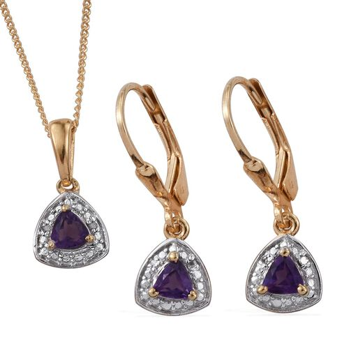 Amethyst (Trl), Diamond Pendant with Chain and Lever Back Earrings in 14K Gold Overlay Sterling Silver 0.750 Ct.