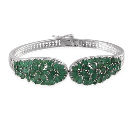 Kagem Zambian Emerald (Pear) Bangle (Size 7.5) in Platinum Overlay Sterling Silver 11.000 Ct.