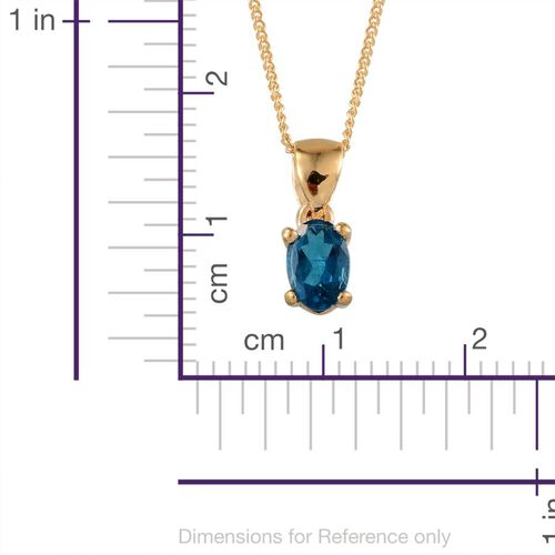 Malgache Neon Apatite (Ovl) Solitaire Pendant With Chain in Yellow Gold Overlay Sterling Silver 0.500 Ct.