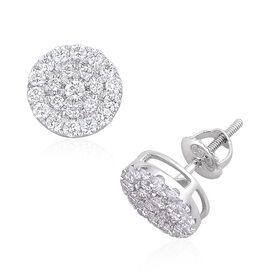 ILIANA 18K White Gold 1 Carat IGI Certified Cluster Diamond SI G-H Stud Earrings