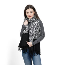 100% Merino Wool White Colour Floral Embroidery Black Colour Shawl with Fringes at the Bottom (Size 200x70 Cm)