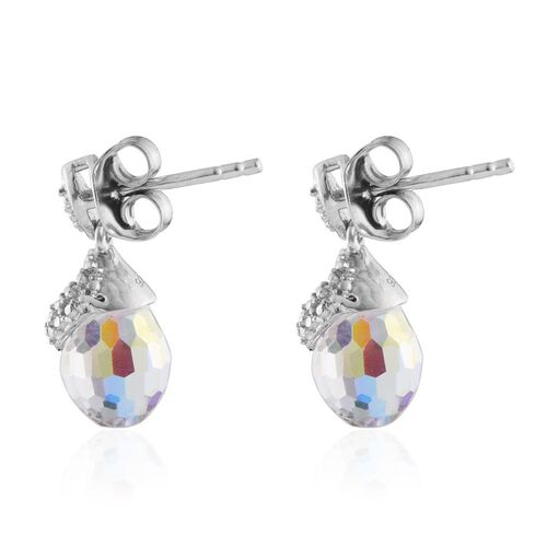 Crystal from Swarovski - AB Crystal Earrings (with Push Back) in Platinum Overlay Sterling Silver