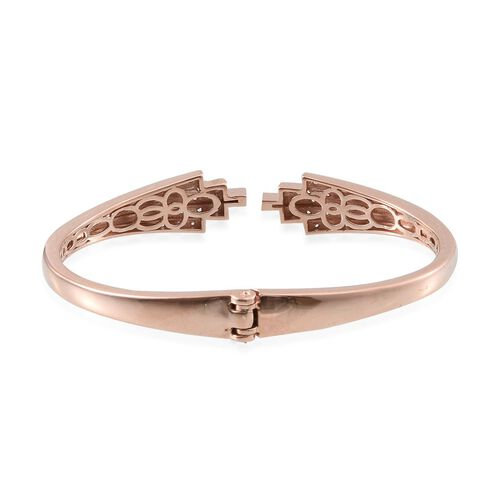 J Francis - Rose Gold Overlay Sterling Silver (Rnd) Bangle (Size 7.5) Made with SWAROVSKI ZIRCONIA