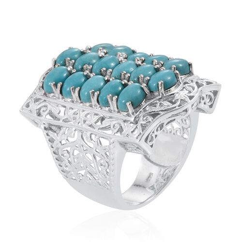 Sonoran Turquoise (Ovl) Ring in Platinum Overlay Sterling Silver 7.250 Ct.