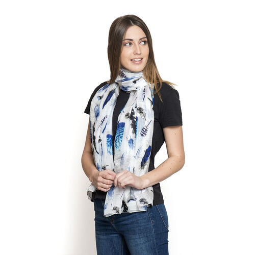 100% Mulberry Silk White and Blue Colour Feather Pattern Scarf (Size 180x100 Cm)