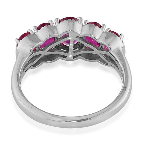 African Ruby (Ovl 0.53 Ct) 5 Stone Ring in Platinum Overlay Sterling Silver 2.580 Ct.