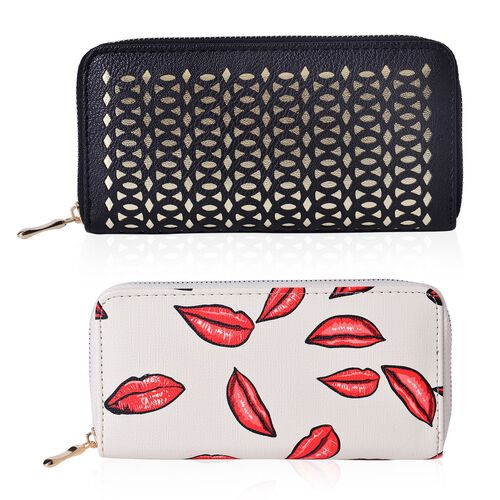Set of 2 - Laser Cut Pattern Black and Golden Colour and Red Lips Pattern Cream Colour Wallet (Size 19.5x9.5x3 Cm)