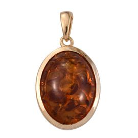 Very Rare Size Baltic Amber (Ovl 20X15) Solitaire Pendant in 14K Gold Overlay Sterling Silver 6.000 Ct.