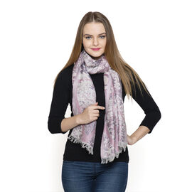 DOD - Lilac and Pink Colour Abstract Pattern Scarf (Size 180x70 Cm)