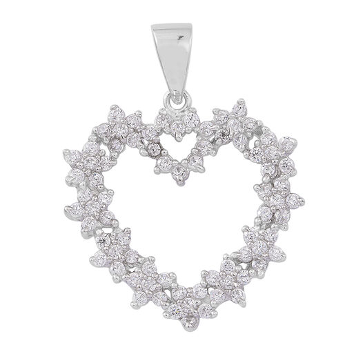 Signature Collection-ELANZA AAA Simulated White Diamond (Rnd) Heart Pendant in Rhodium Plated Sterling Silver