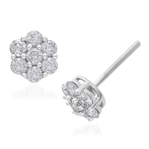 9K W Gold SGL Certified (G to H colour and I3 Clarity) Diamond (Rnd) Floral Stud Earrings (with Push Back) 1.000 Ct.