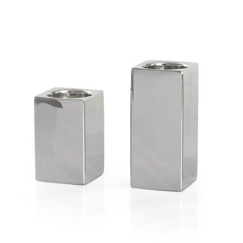 Home Decor - Set of 2 - Square Shape Silver Colour Tea Light Holder