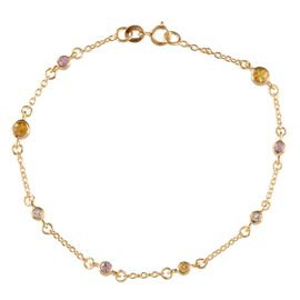 Yellow Sapphire (Rnd), Pink Sapphire and White Topaz Station Bracelet (Size 7.5) in Yellow Gold Overlay Sterling Silver 1.150 Ct.