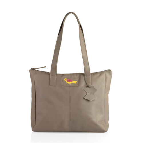 Set Of Two -Marie Full Grain Genuine Leather Summer Sand Tote Bag with RFID Pouch (31x9x28cm and 20x13cm)