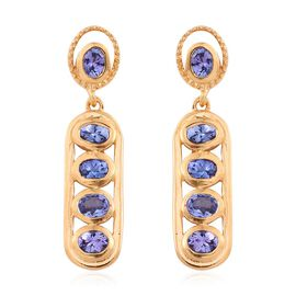Tanzanite (Ovl) Earrings (with Push Back) in 14K Gold Overlay Sterling Silver 1.750 Ct.