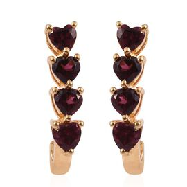 Rhodolite Garnet (Hrt) J Hoop Earrings (with Push Back) in Gold Bond 2.500 Ct.