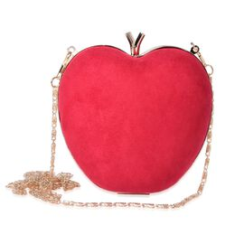 Amour Velvet Red Apple Clutch Bag With Removable Golden Chain (Size 15x14 Cm)