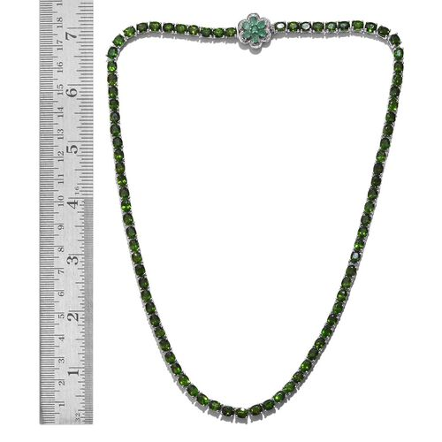 Russian Diopside (Ovl), Kagem Zambian Emerald and Diamond Necklace (Size 18) in Platinum Overlay Sterling Silver 37.000 Ct.