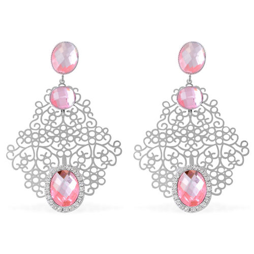 Pink Glass and White Austrian Crystal Earrings (with Push Back) in Silver Tone