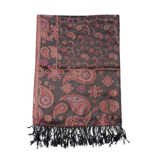 100% Superfine Silk Paisley and Floral Pattern Black Jacquard Jamawar Shawl with Fringes (Size 70x180 Cm) (Weight 125 - 140 Grams)