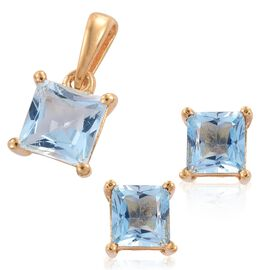 Sky Blue Topaz (Sqr) Solitaire Pendant and Stud Earrings (with Push Back) in 14K Gold Overlay Sterling Silver 2.500 Ct.